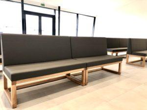 Dub, lavice, čalounění, olej OSMO, nábytek, sedák